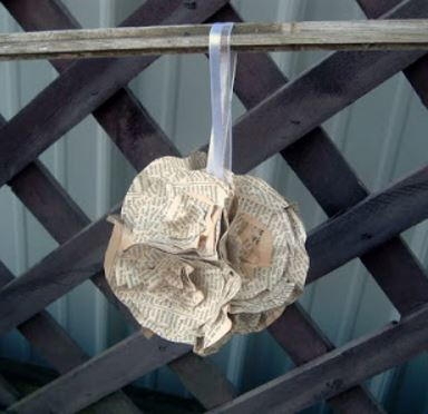 Rustic Paper Flower Ornament