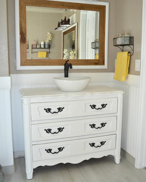Country Chic Upcycled Bathroom Vanity & Country Chic Upcycled Bathroom Vanity | DIYIdeaCenter.com