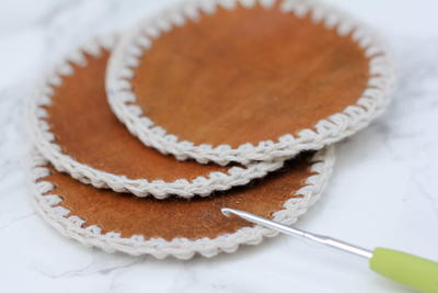 Leather + Crochet Coasters for Him