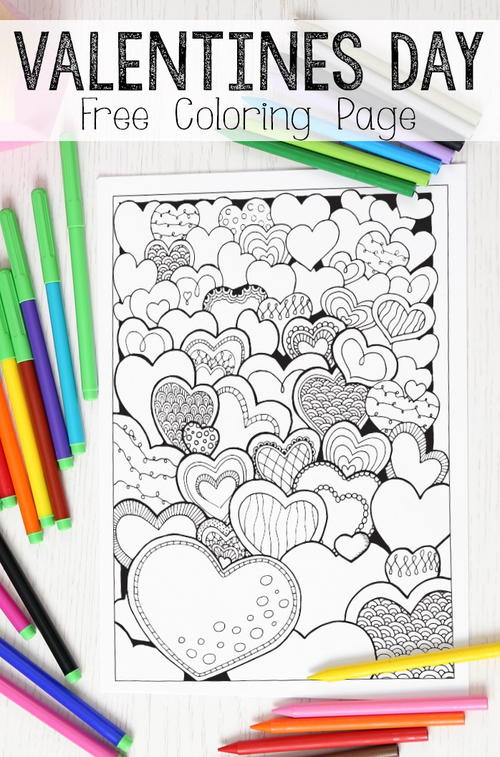 Heartfelt Valentines Day Coloring Page