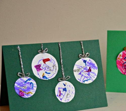 artsy bauble kid made christmas cards allfreechristmascrafts com