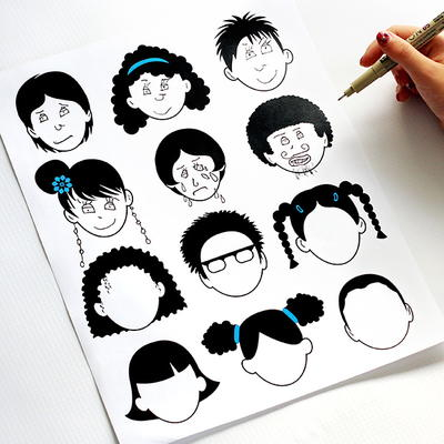 Blank Faces Coloring Page
