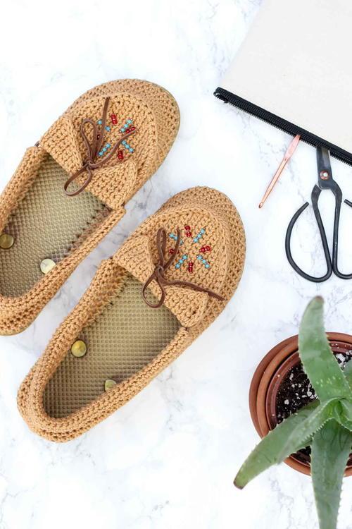 Crochet Moccasins With Flip Flop Soles Favecrafts