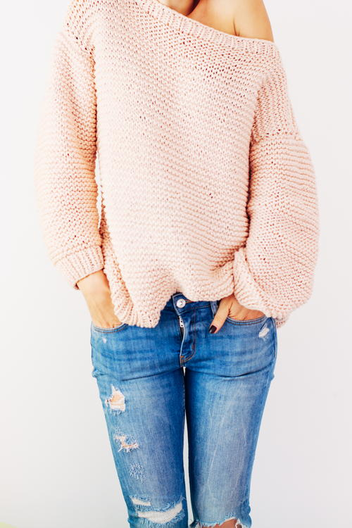 Peachy Keen Oversize Knitted Sweater