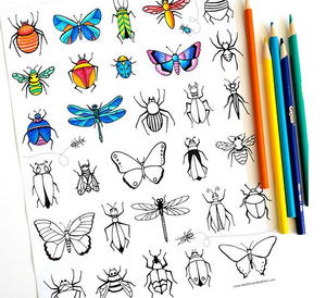 Vintage Flower Child Adult Coloring Page Image 6 Below 7 Bug And Butterfly