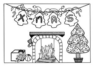 Night Before Christmas Adult Coloring Page