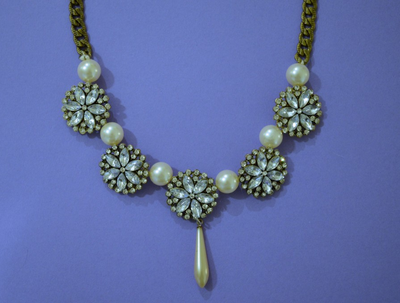 DIY Rhinestone and Pearl Statement Necklace