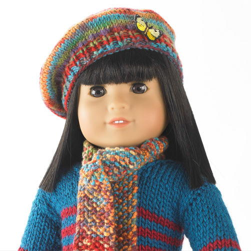 Darling Knit Doll Scarf and Beret | AllFreeKnitting.com