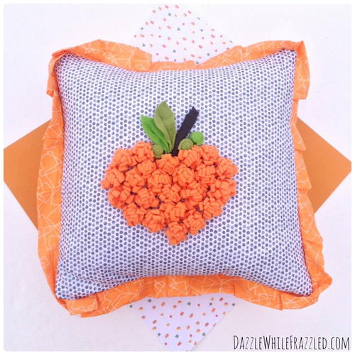Autumn Pillow with Fleece Pumpkin