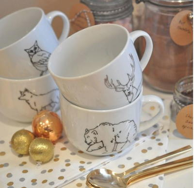 Woodland Friends Painted Mugs