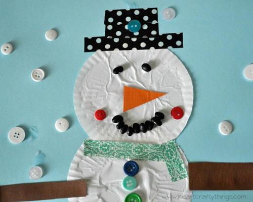 Snowman Cupcake Liner Paper Craft Allfreekidscrafts