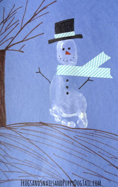 Holiday Snowman Footprint Art