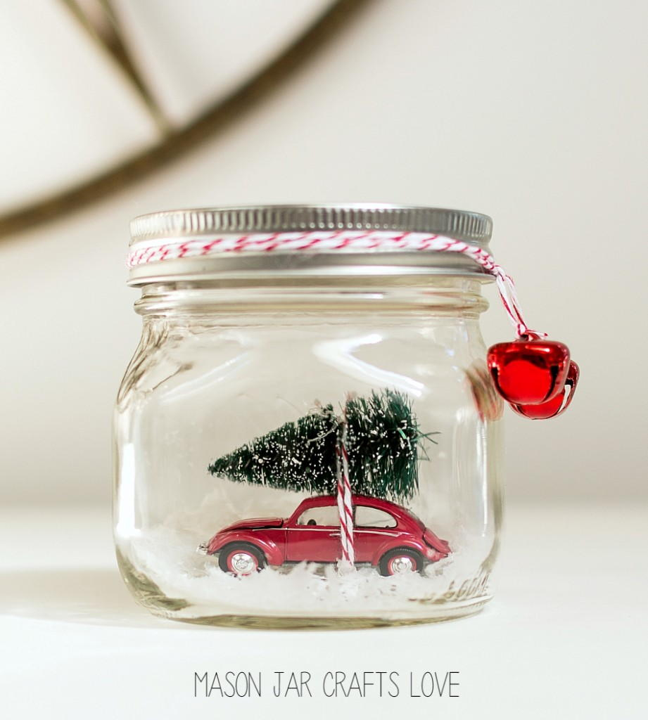 Winter traditions homemade snow globes for Easy homemade christmas snow globes