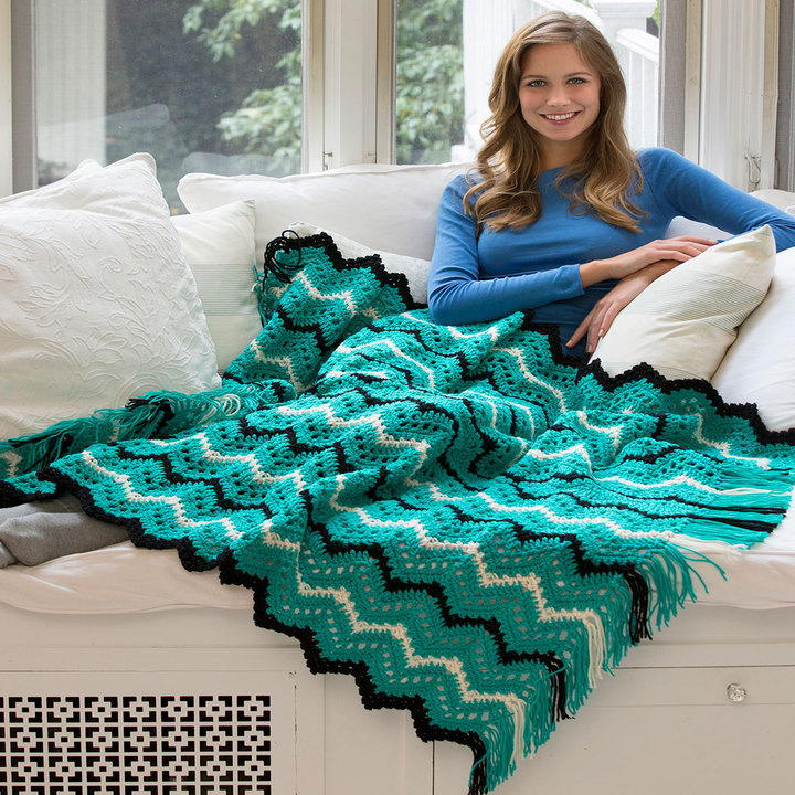 Mystic Jade Ripple Throw Allfreecrochetafghanpatterns