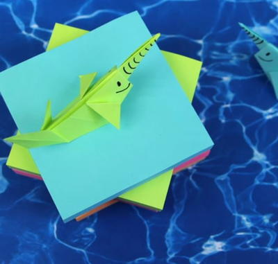 Seaworthy Sticky Note Origami Narwhal Allfreepapercrafts