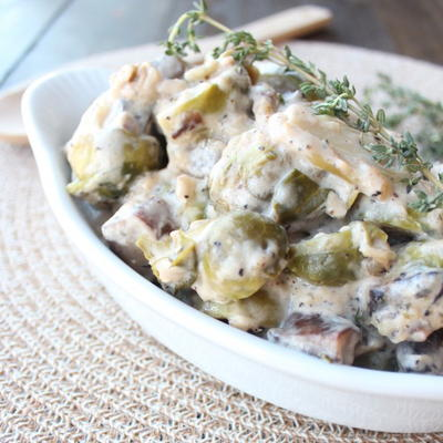 Easy Brussels Sprout and Mushroom Casserole