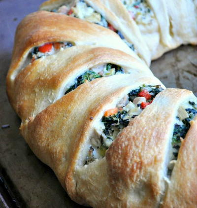 Lightened-Up Spinach Artichoke & Crescent Ring