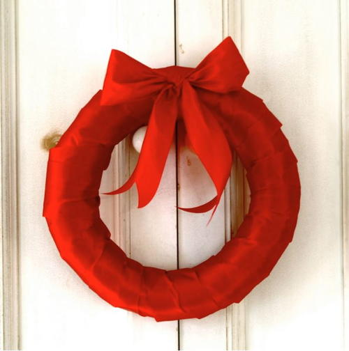 Simple Red Ribbon Wreath