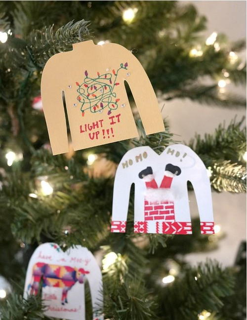 Ugly Christmas Sweater Paperclip Homemade Ornaments