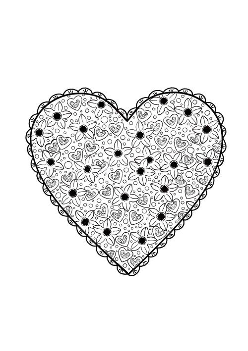 Valentine\'s Paper Doily Adult Coloring Page | AllFreeHolidayCrafts.com
