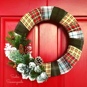 Thrifty Flannel-Wrapped Wreath Idea