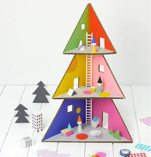 Christmas Tree Cardboard Doll House