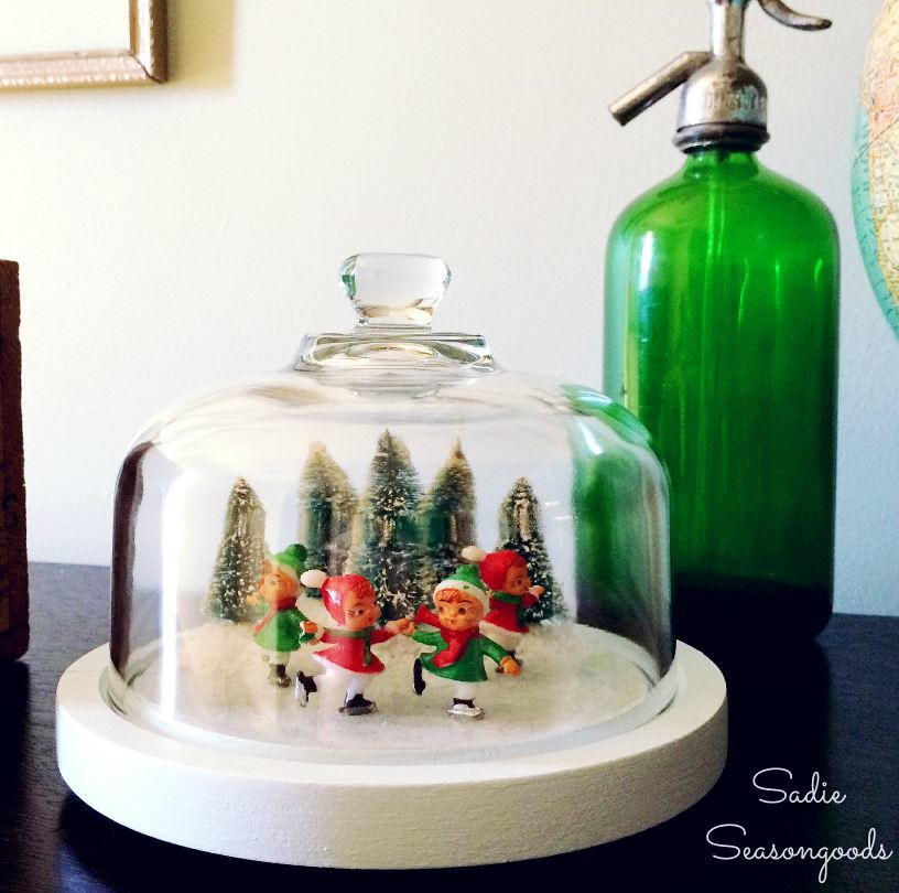 Vintage Skating Pond Glass Dome Craft