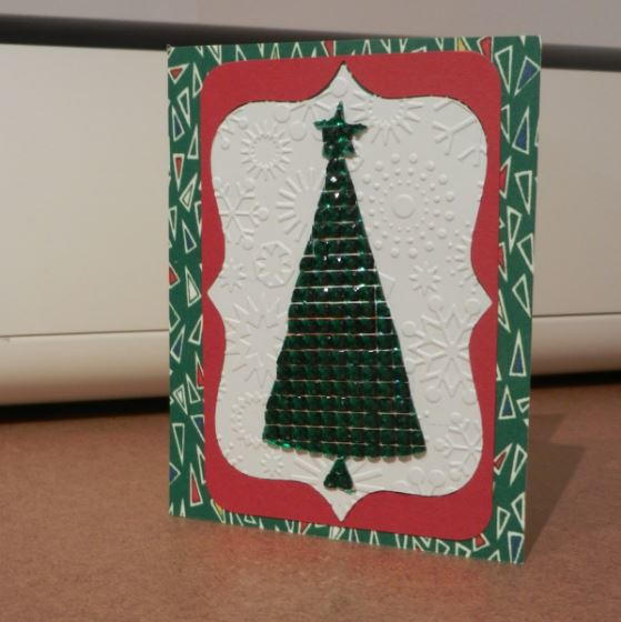 jeweled christmas tree diy card allfreechristmascraftscom - Jeweled Christmas Trees