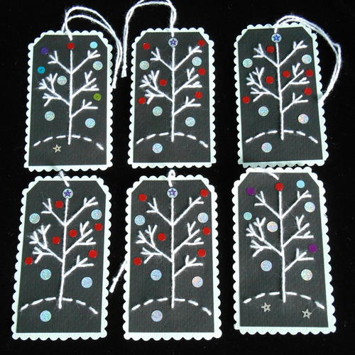 Embroidered Holiday Gift Tag Ornaments