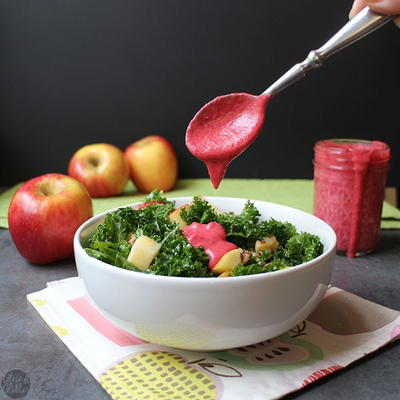 Holiday Kale Salad with Warm Cranberry Dressing