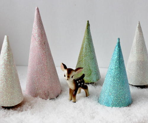 Glittery Toilet Paper Roll Christmas Trees