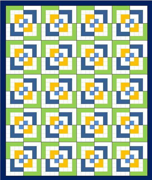 Half Log Cabin Quilt Pattern