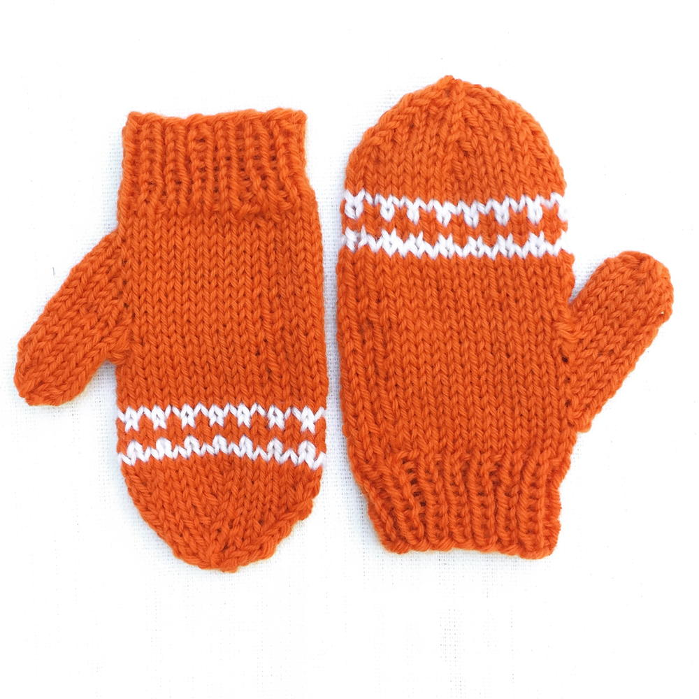 Orange Striped Toddler Mittens Allfreeknitting