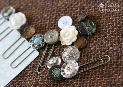 Vintage Button and Paperclip DIY Bookmarks