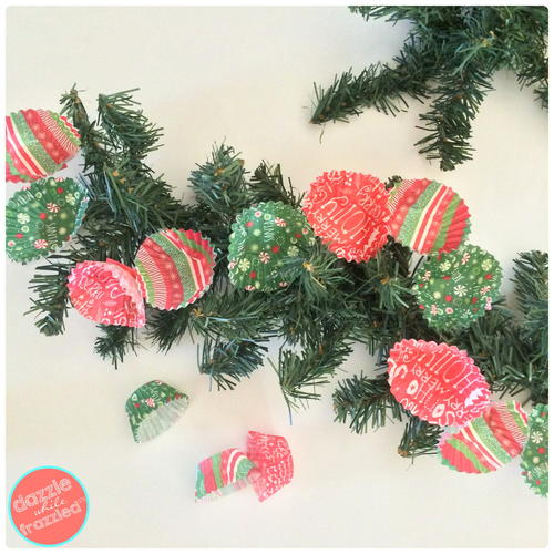 Christmas Tree Garland From Mini Cupcake Liners