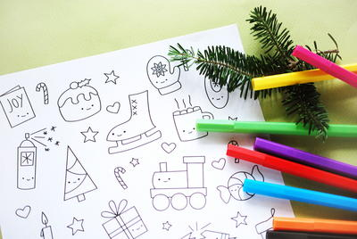 Cutesy Christmas Coloring Pages