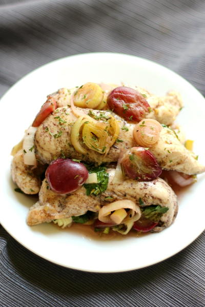Skillet Chicken With Roasted Grapes & Leeks