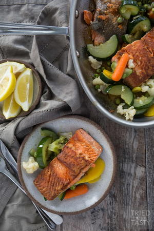 Pan Seared Coconut Oil Salmon & Veggies