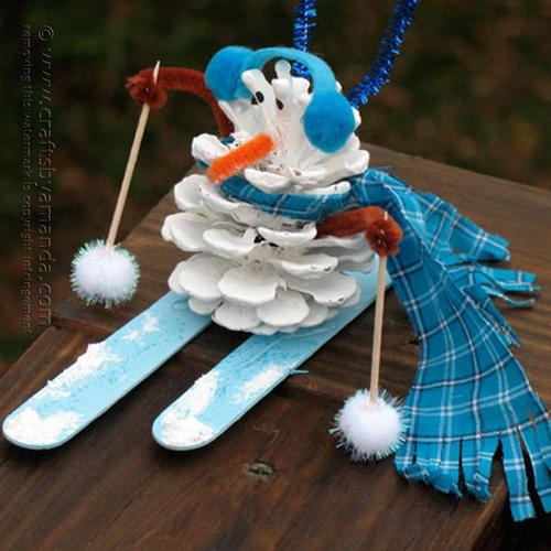 skiing snowman pine cone craft - Pine Cone Ornaments