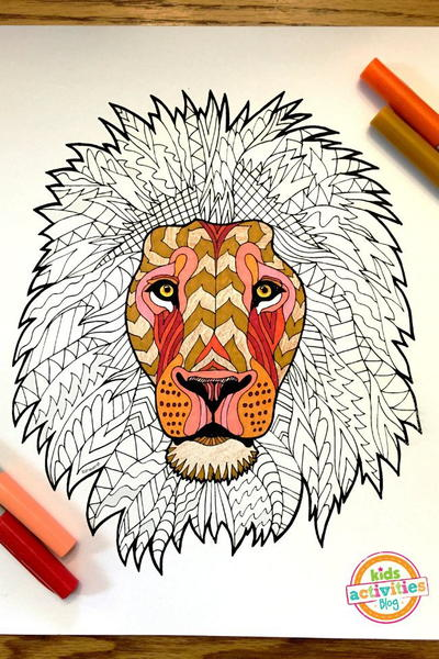 Wonderful Lion Zentangle Coloring Page