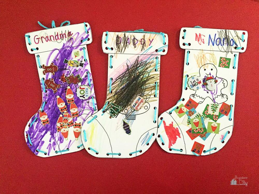 Kids Christmas Stocking Paper Craft | AllFreeHolidayCrafts.com