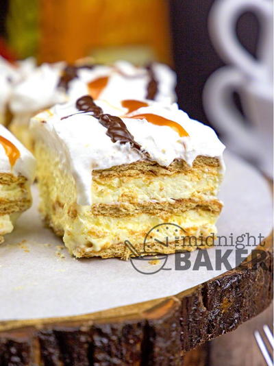No Bake Caramel Eclair Layer Cake