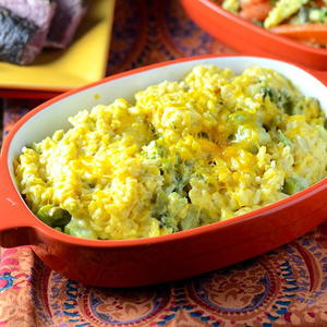 Dad's Favorite Cheesy Broccoli Rice Casserole