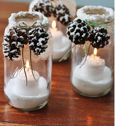 pine cone christmas decorations snowy pine cone homemade luminaries - Homemade Pine Cone Christmas Decorations