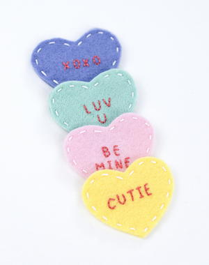 Mini Felt Conversation Hearts