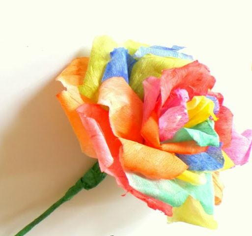 Watercolor Rainbow Paper Rose