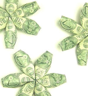 Money Origami Flowers