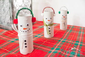 Recycled Toilet Paper Roll Snowman