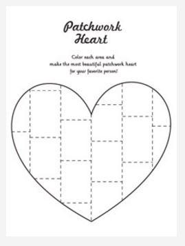 Patchwork Heart Coloring Page