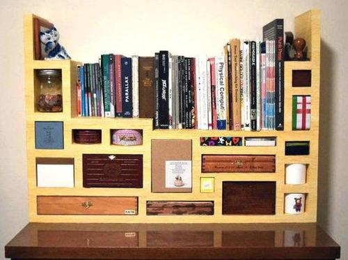 Tetris Design DIY Cardboard Shelves | DIYIdeaCenter.com